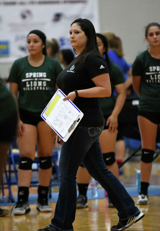 Spring head volleyball coach Stephanie Porter goes to work during her team's scrimmage against Mayde Creek at Klein High School on August 5, 2017. (Photo by Jerry Baker /Freelance) Photo: Jerry Baker, Freelance / For The Chronicle / Freelance