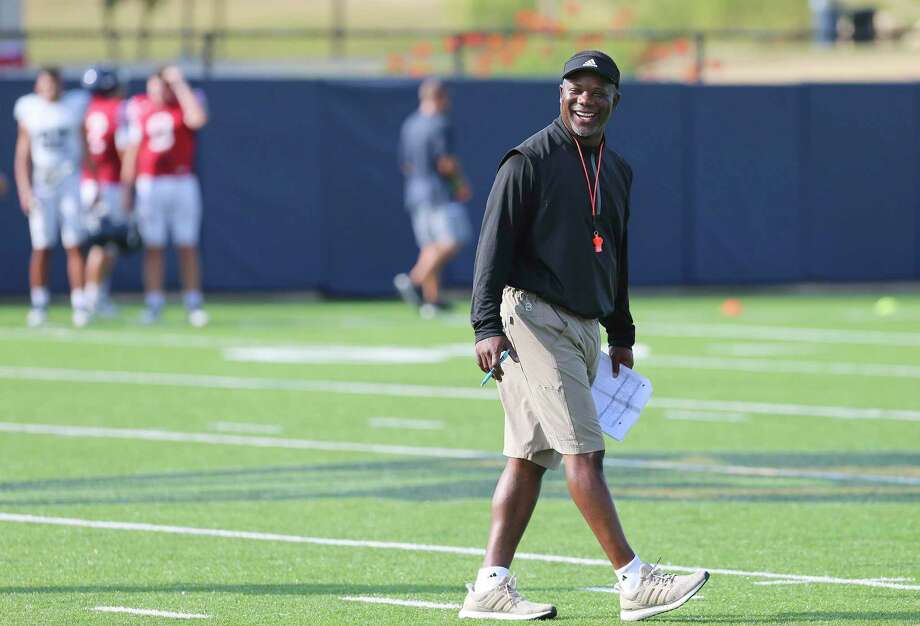 UTSA head football coach Frank Wilson breaks into a smile during practice on Thursday, Aug. 15, 2019. Wilson and the team are gearing up for the start of their season when they play University of the Incarnate Word on August 31. (Kin Man Hui/San Antonio Express-News) Photo: Kin Man Hui, Staff / Staff Photographer / ©2019 San Antonio Express-News