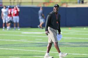 UTSA head football coach Frank Wilson breaks into a smile during practice on Thursday, Aug. 15, 2019. Wilson and the team are gearing up for the start of their season when they play University of the Incarnate Word on August 31. (Kin Man Hui/San Antonio Express-News)