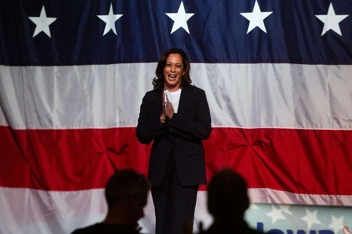 Democratic presidential candidate Sen. Kamala Harris, D-Calif., speaks during the Iowa Democratic Wing Ding Friday, August 9, 2019, in Clear Lake, Iowa. Harris delivered her five-minute speech at the joint fundraiser as a part of her river-to-river bus tour across Iowa.