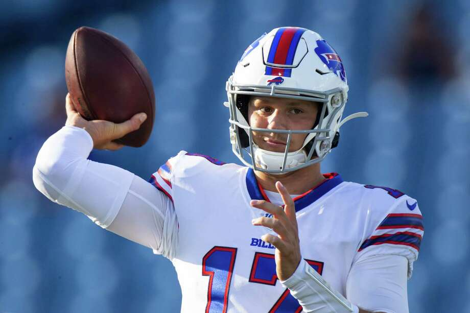 ORCHARD PARK, NY - AUGUST 08:  Josh Allen #17 of the Buffalo Bills warms up before a preseason game against the Indianapolis Colts at New Era Field on August 8, 2019 in Orchard Park, New York.  (Photo by Brett Carlsen/Getty Images) Photo: Brett Carlsen / 2019 Getty Images