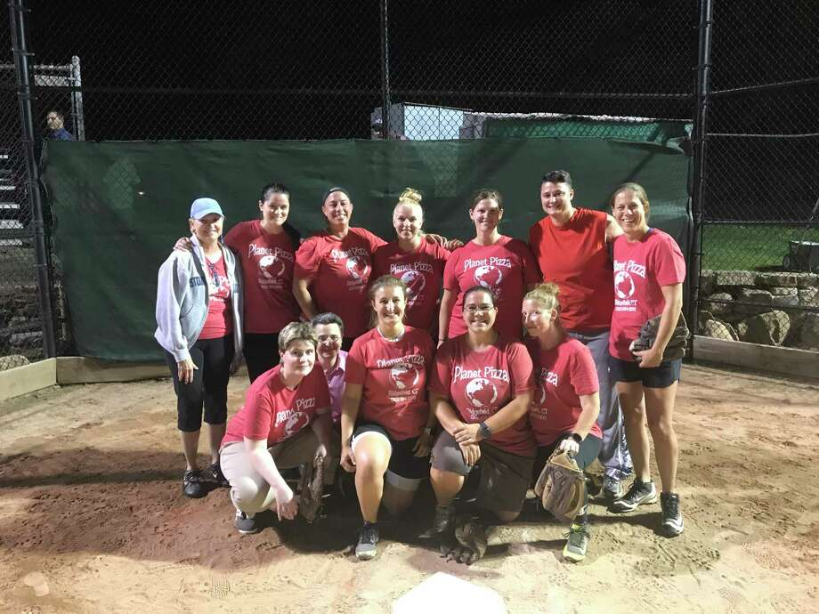 Planet Pizza celebrates after winning the championship in the Ridgefield Women's Softball Association. Photo: Ridgefield Women's Softball Association / Contributed Photo