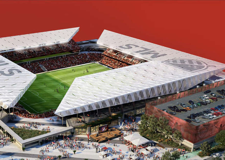 An artist rendering of the soccer specific stadium that will be built next to St. Louis Union Station if, as expected, MLS announces St. Louis has been selected as the choice for the pro soccer league's next expansion team. Photo: HOK Architects