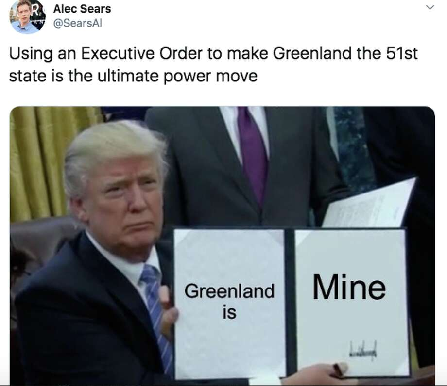 Social media reacts to reports of President Trump wanting to purchase Greenland. Photo: Twitter