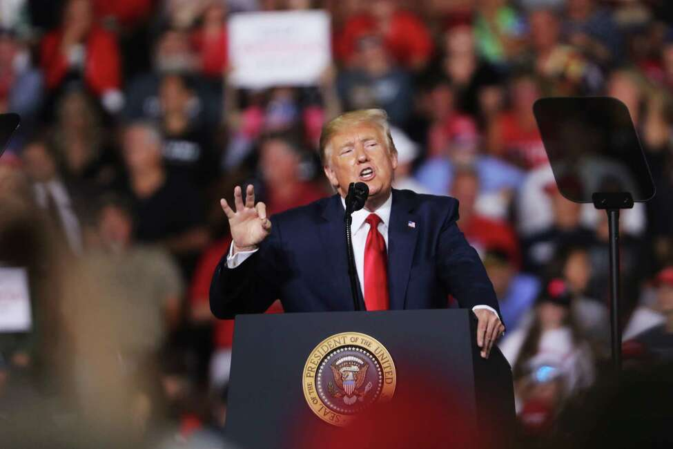 MANCHESTER, NEW HAMPSHIRE - AUGUST 15: President Donald Trump speaks to supporters at a rally in Manchester on August 15, 2019 in Manchester, New Hampshire. The Trump 2020 campaign is looking to flip the battleground state of New Hampshire with the use of a strong economy and appeals to his core voters on immigration and guns. (Photo by Spencer Platt/Getty Images)