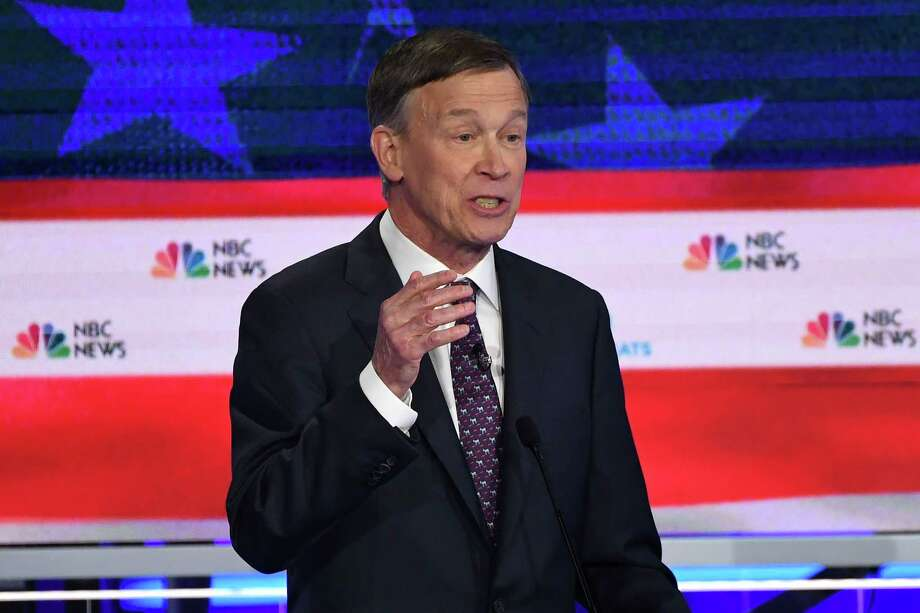 (FILES) In this file photo taken on June 27, 2019, Democratic presidential hopeful former Governor of Colorado John Hickenlooper speaks during the second Democratic primary debate of the 2020 presidential campaign season in Miami, Florida. - Hickenlooper dropped out of the race for the Democratic party's 2020 presidential nomination on August 15, 2019, the second victim of poor polling in a hugely crowded race. But the centrist 67-year-old left open the possibility that he could take on Republican Cory Gardner next year for one of the state's two seats in the US Senate. (Photo by SAUL LOEB / AFP)SAUL LOEB/AFP/Getty Images Photo: SAUL LOEB / AFP or licensors