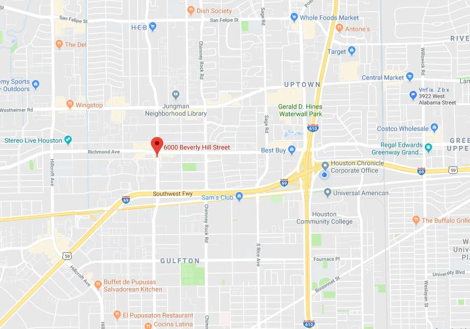 Houston police responded to a fatal crash Thursday night in the 6000 block of Beverly Hill Street. Multiple media outlets reported an underage driver ran over a man and his dog. Photo:  Google Maps