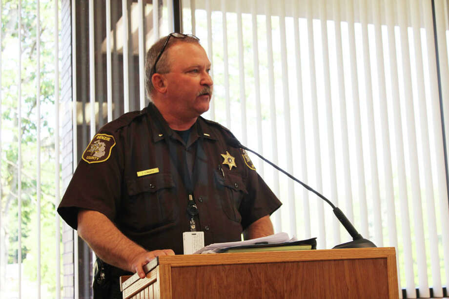 JAIL IMPROVEMENTS: Jeff Conquest, jail administrator for the Benzie County Jail, explains the benefits of purchasing new video conferencing and interview recording equipment to the Benzie County Board of Commissioners at a meeting held on Aug. 20. (Photo/Colin Merry)