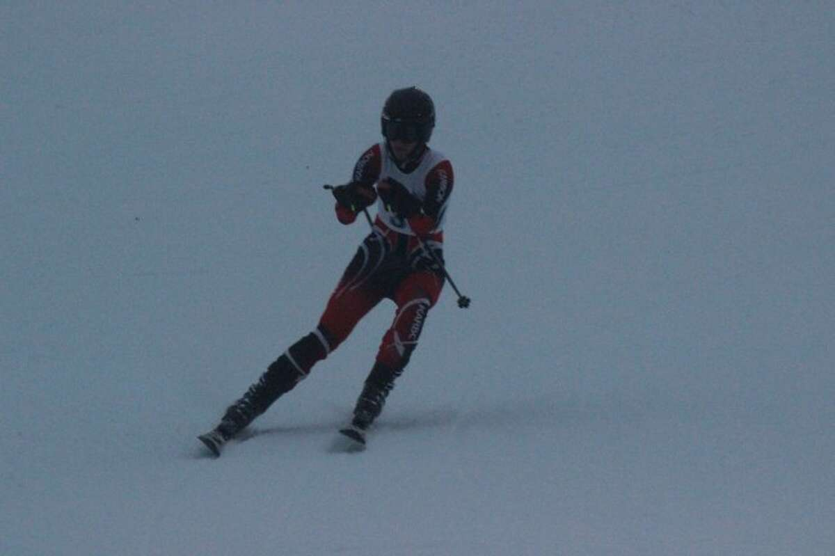 SKIING FOR STATE: Skier Isaac Miller lead the Benzie Central/Frankfort ski team in the giant slalom race at the state final in Harbor Springs. The boys finished ninth in Division 2. (File Photo)