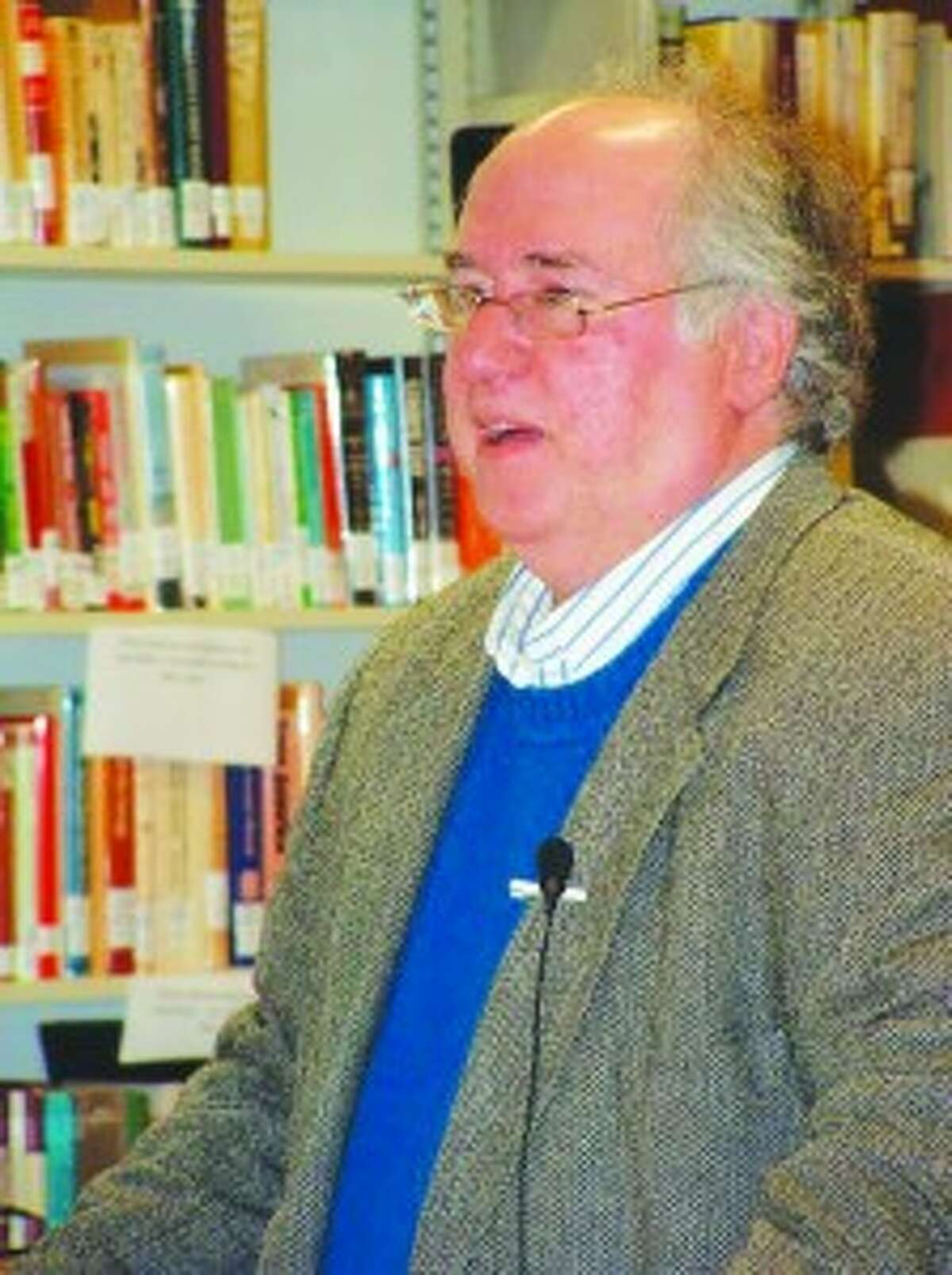 American Classics: Al Bryant makes a presentation on Mark Twain's prolific career as an author at a community program held at the Darcy Library in Beulah.