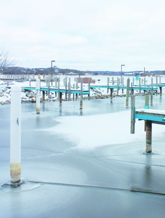 Water Line: Evidence of low water levels can be seen at harbor slips in Frankfort, as well as most harbors across the state. Some harbors are near unusable, and the reason for a DNR emergency dredging plan.