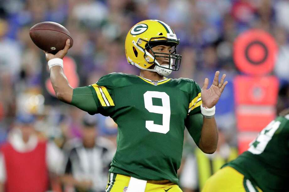 Green Bay Packers quarterback DeShone Kizer throws a pass against the Green Bay Packers during the first half of a NFL football preseason game, Thursday, Aug. 15, 2019, in Baltimore. (AP Photo/Julio Cortez) Photo: Julio Cortez / Copyright 2019 The Associated Press. All rights reserved.