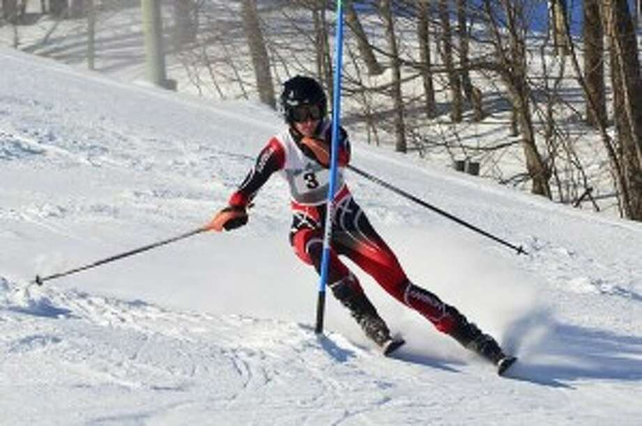 GOING TO THE STATE FINAL: Benzie Central senior Isaac Miller hits the slopes during the regional meet on Feb. 9. The boys team qualified for the state final meet at Nubs Nob on Feb. 23. (Courtesy photo/Bruce Hood)
