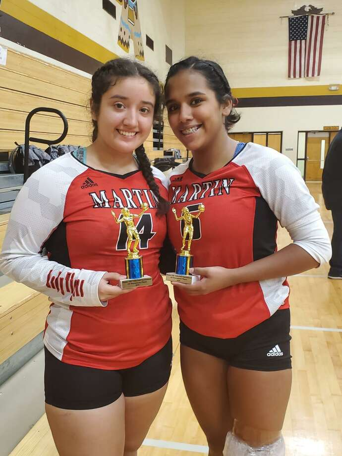 Irma Cortez, Alexa Flores and Martin took third place in pool play Thursday as the Lady Tigers advanced to the silver bracket at the Sinton tournament. Photo: Courtesy Photo