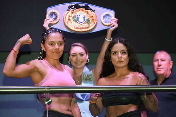 Laredoan Mandy Fuentes, right, will fight Iranda Paoloa Torres for the vacant American Boxing Organization Featherweight Title Friday at Fight Fest 19.