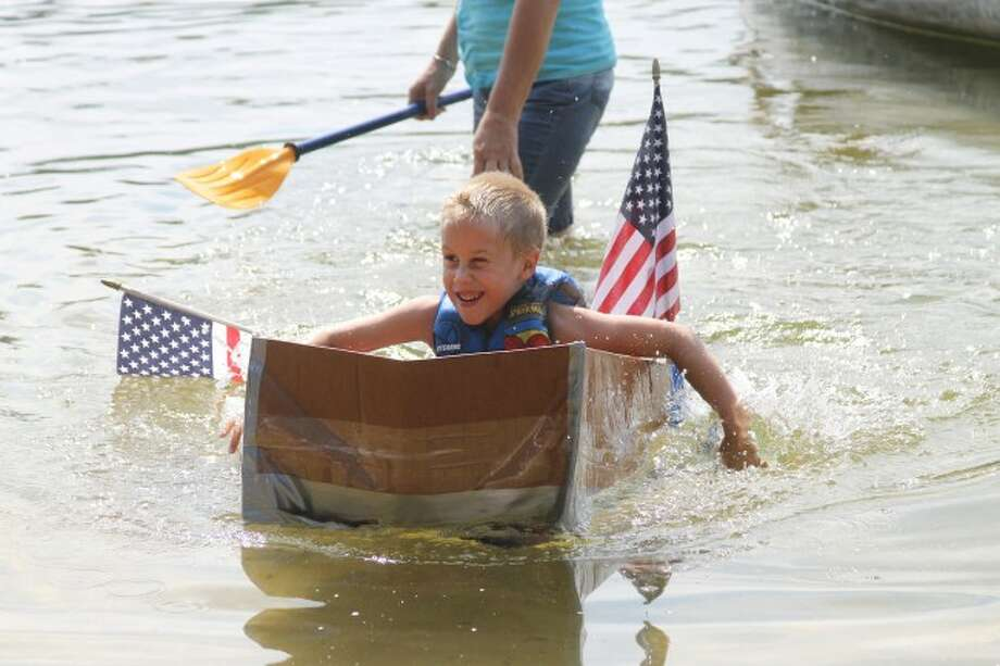 Pic 2: The annual Cardboard Boat Race was held on Lake Elinor on Saturday during the annual Brethren Days celebration.