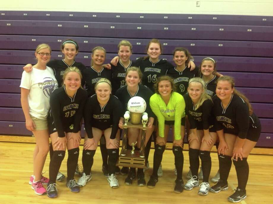 CHAMPS: The Frankfort volleyball team stands with theFrankfort Invite Traveling Trophy after winning its home tournament on August 27. The Panthers were a perfect 6-0 during the day long event. (Photo/ Bryan Warrick)