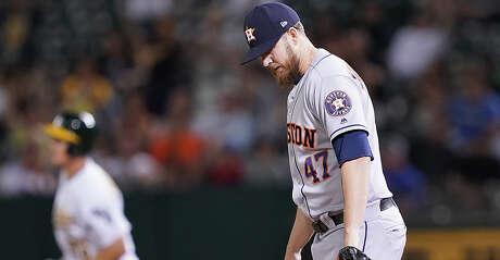 OAKLAND, CA - AUGUST 15:  Chris Devenski #47 of the Houston Astros reacts after giving up a solo home run to Matt Chapman #26 of the Oakland Athletics in the bottom of the eighth inning at Ring Central Coliseum on August 15, 2019 in Oakland, California.  (Photo by Thearon W. Henderson/Getty Images)