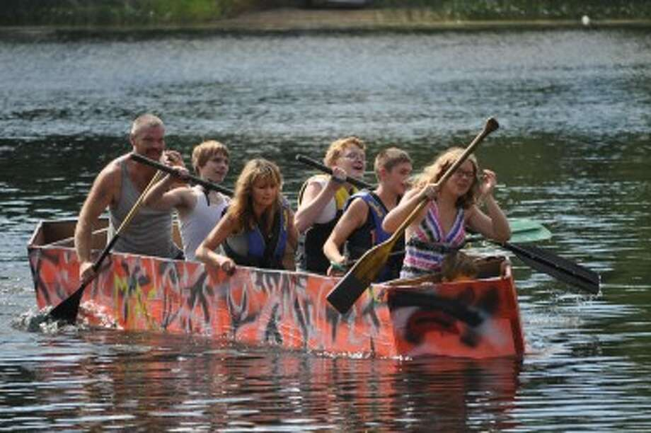 Competitors in the Brethren Days cardboard boat races were required to make their vessels out of glue, cardboard, paint, duct tape or wax paper.