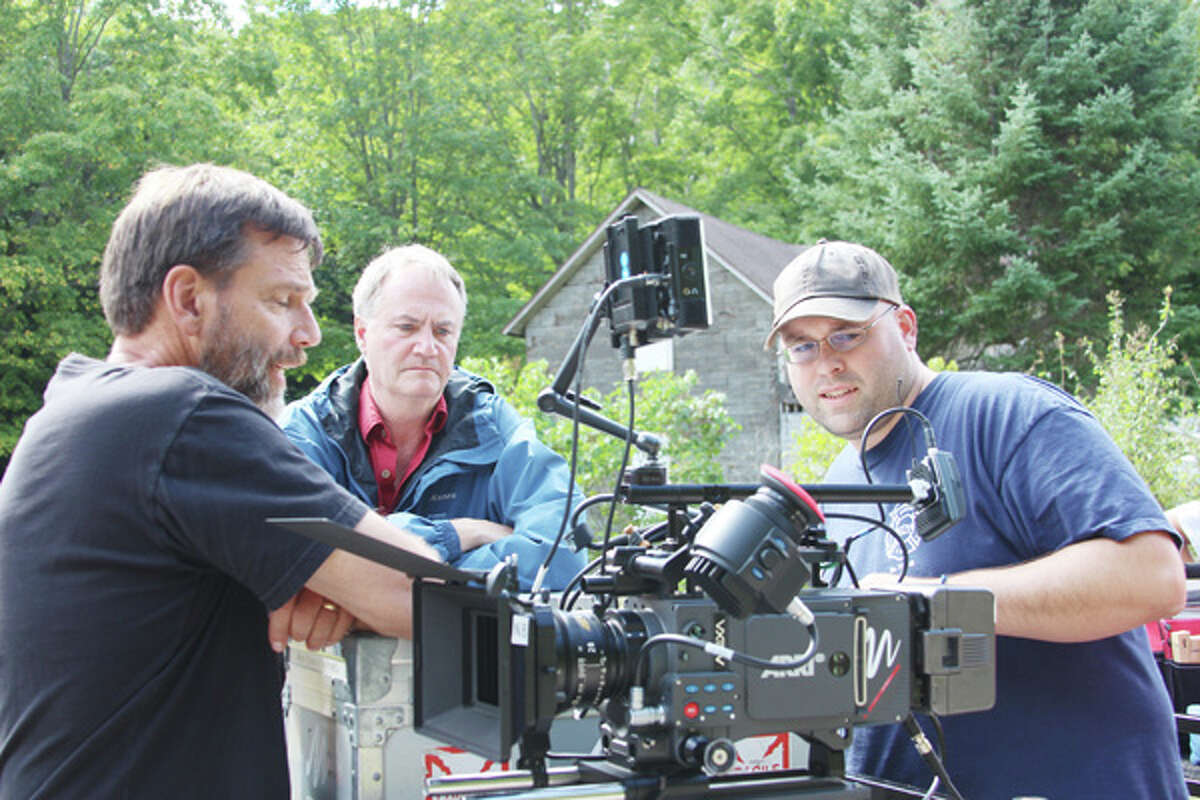 """ON SCENE: Rich Brauer, of Brauer Productions, works with the film crew on the set of his movie, """"Dogman 2: Wrath of the Litter,"""" which was filmed in Benzie County, and won """"Best Feature"""" in the 2014 Eclipse Awards, held in Grand Rapids on May 1. (Photo/Colin Merry)"""