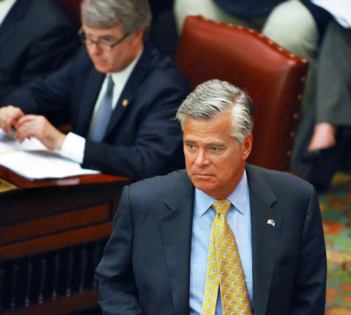 Senate Republican Leader Dean G. Skelo holds his minority together Tueday to oppose the state budget. (John Carl D'Annibale / Times Union)