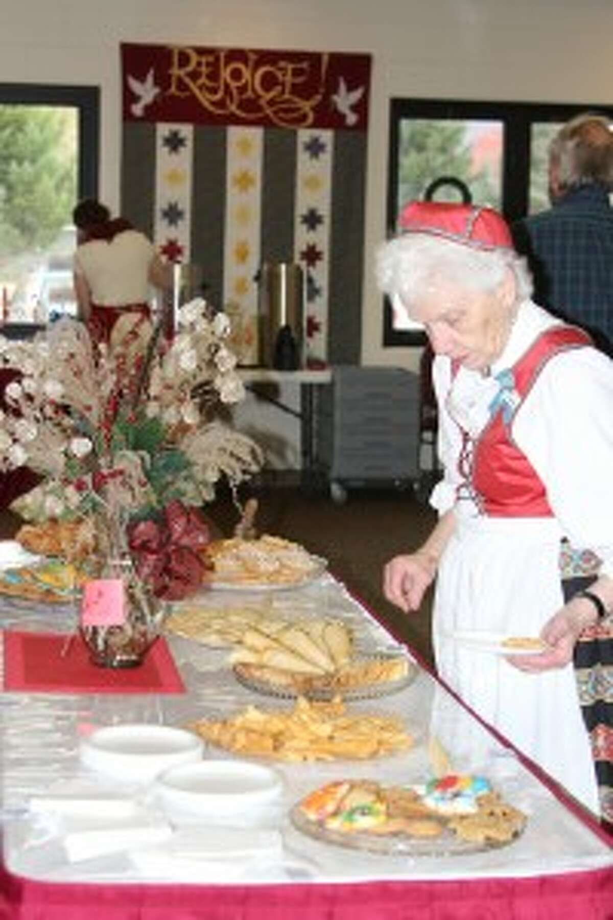 IN THE SPIRIT: Traditional Scandinavian cookies were part of the spread at the Scandinavian Bazaar and Luncheon, held Saturday. Visitors could get a lunch of Norwegian meatballs and sausage.