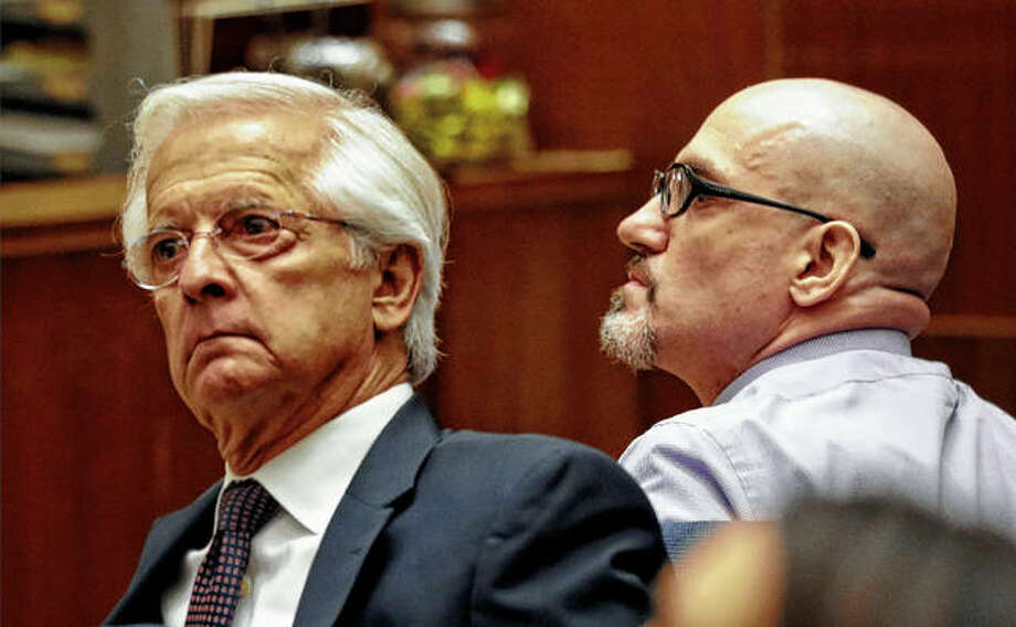 Michael Gargiulo (right) appears with his defense attorney Daniel Nardoni in May in Los Angeles Superior Court for opening statements for his trial on murder charges in Los Angeles. Jurors reached a verdict Thursday, finding Gargiulo guilty of fatally stabbing two women in their Southern California homes and attempting to kill a third. Photo: Al Seib | Los Angeles Times Via AP