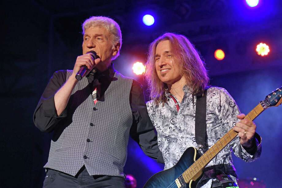 Dennie DeYoung, left, and August Zadra perform at the Dennis DeYoung and the Music of Styx concert at the Levitt Pavilion on Thursday, Aug. 15, 2019, in Westport, Conn. Photo: Jarret Liotta / Jarret Liotta / ©Jarret Liotta