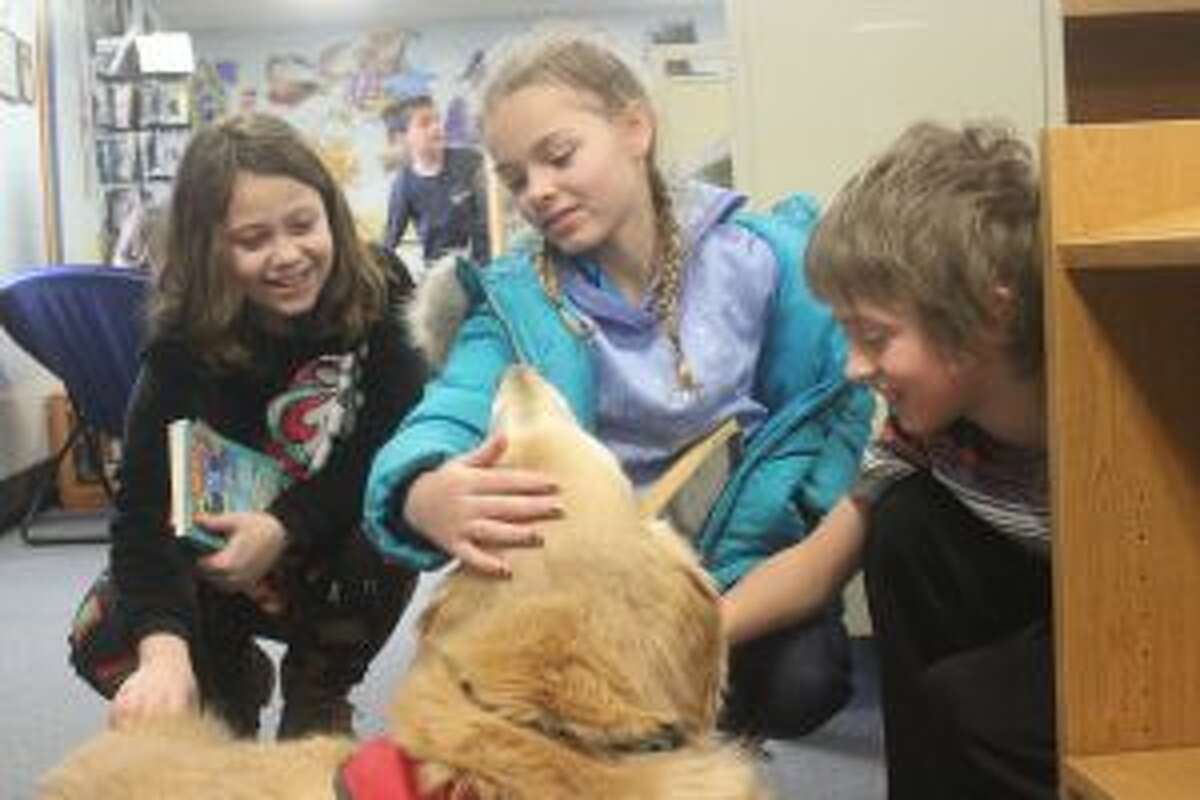 """Crystal Lake Elementary students stop by to say """"hi"""" to Max on a trip to the library."""