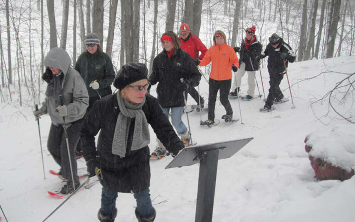 WINTER WONDER: Visitors can snowshoe the Michigan Legacy Art Park during several tours held at the outdoor gallery, which is located at Crystal Mountain Resort and Spa.