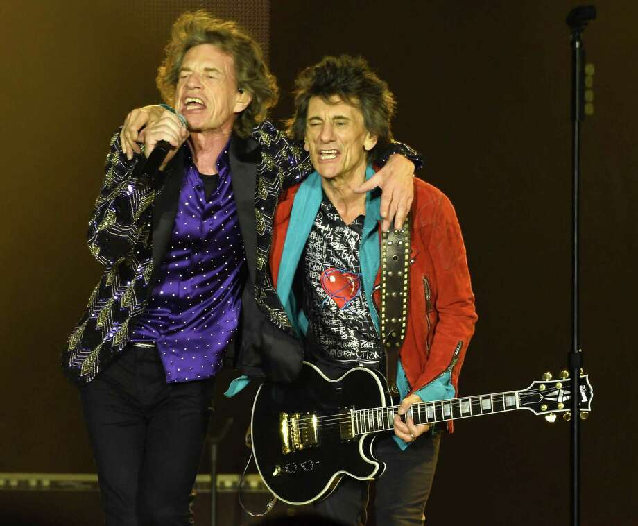 Mick Jagger and Ronnie Woods during the Rolling Stones concert at NRG Stadium during their No Filter Tour Saturday July 27,2019.(Dave Rossman Photo) Photo: Dave Rossman, Contributor / Contributor / 2019 Dave Rossman