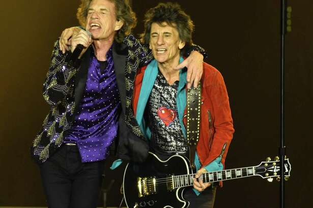 Mick Jagger and Ronnie Woods during the Rolling Stones concert at NRG Stadium during their No Filter Tour Saturday July 27,2019.(Dave Rossman Photo)