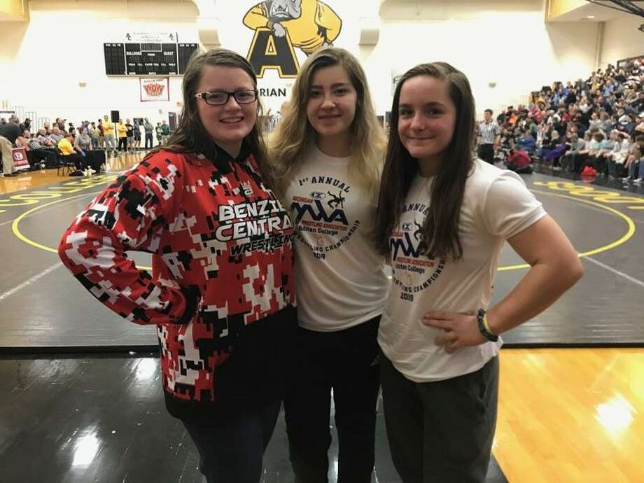 ZiAnn Boorsma, Trinity Parker and Briellen Clapp competed at the girls wrestling state finals on Sunday, where Boorsma and Clapp both medaled. (Courtesy photo)