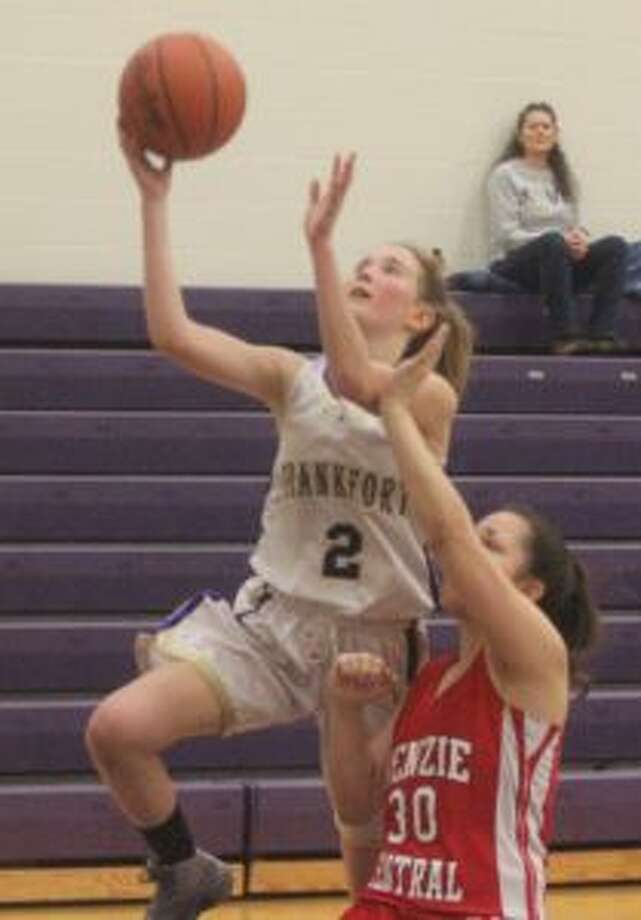 Maggie Kelly drives for a layup during the Frankfort JV's 34-18 victory over the Benzie Central JV on Feb. 15. (Photo/Robert Myers)