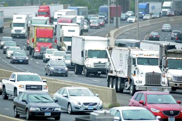 Heavy traffic travels northbound on Interstate 95, I-95, in Bridgeport, Conn. July 24, 2017