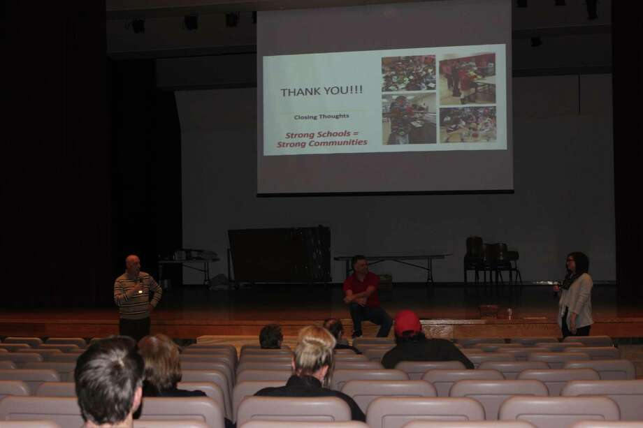 About two dozen community members attended the community forum on Feb. 26 at Benzie Central to discuss the district's bond proposal for the May 7 election. (Photo/Robert Myers)