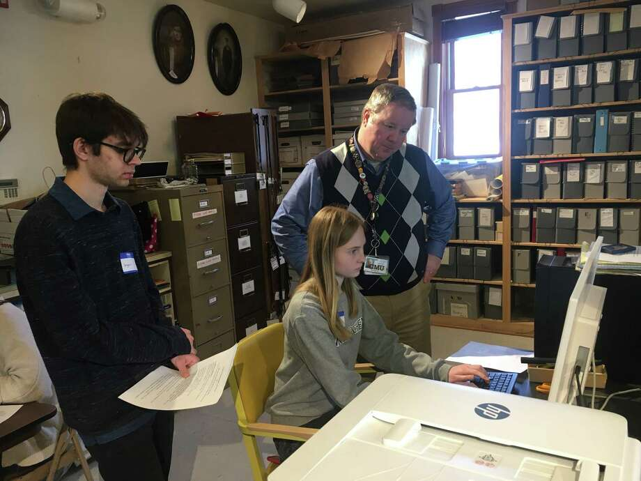 Interlochen Arts Academy students learn about Benzie County's soldiers who fought for their country. (Courtesy photo)