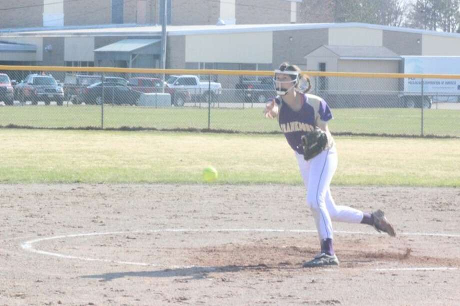 ACE ON THE MOUND: Frankfort's Kelly MacKenna was on the mound for both games against Benzie Central, helping the Panthers sweep the series. (Photos/Bryan Warrick)