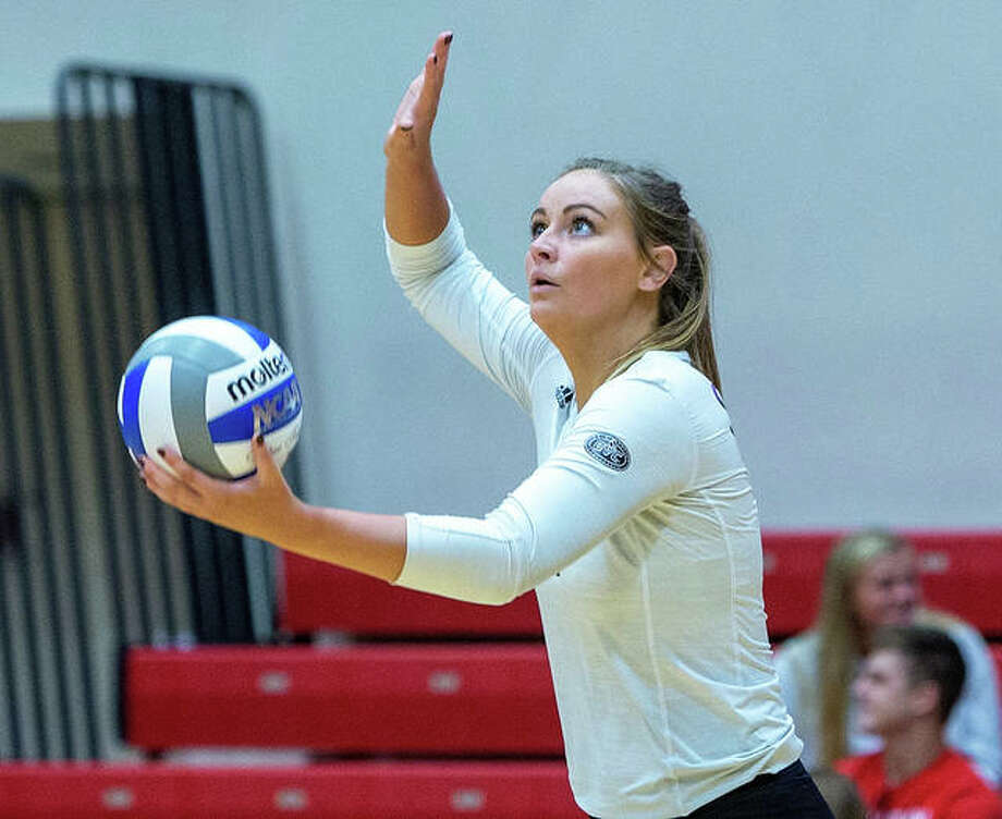 SIUE's Rachel McDonald gets ready to serve in a match last season at Vadalabene Center. McDonald has been selected to the All-Ohio Valley Conference preseason team along with teammate Hope Everett.