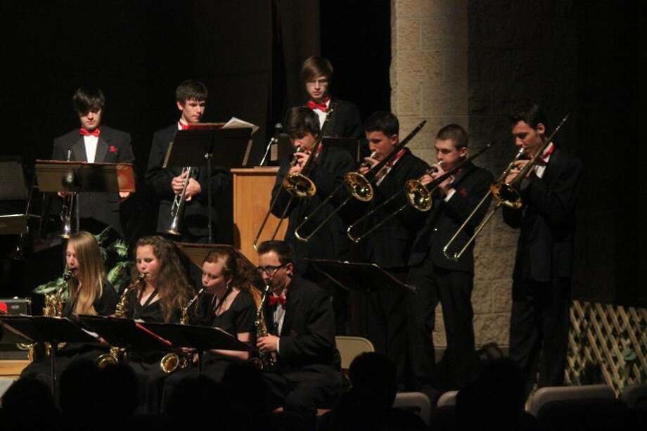 HOT JAZZ: The Senior High Jazz Band plays the song Night Train during the spring concert at Benzie Central. (Photo/Bryan Warrick)