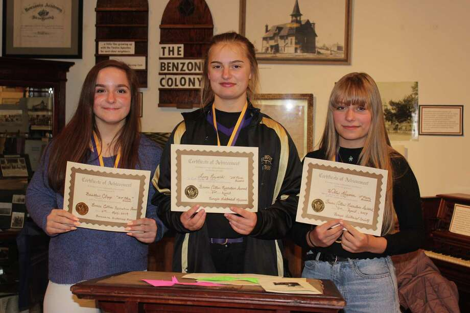 Briellen Clapp (third place), Lucy Reznich (second place) and Willa Kramer (first place) were the top finishers in this years Bruce Catton Essay Contest. (Photo/Robert Myers)