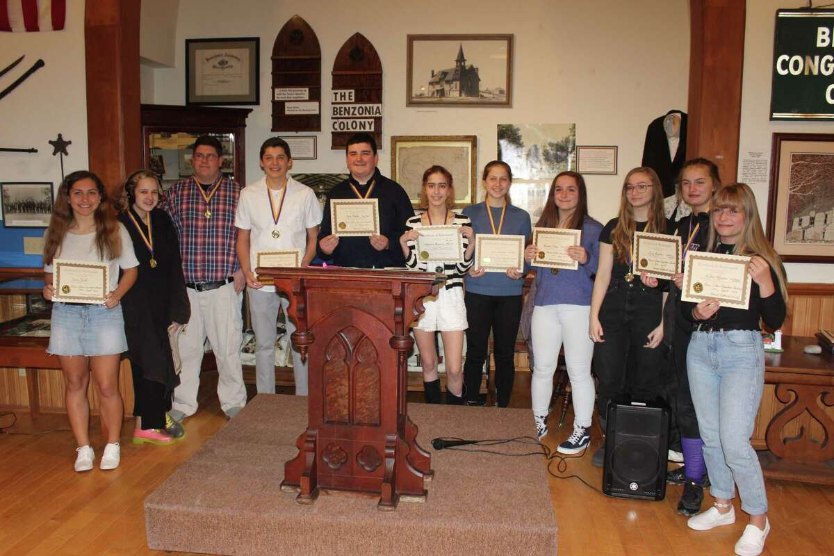 The authors of the top 10 memoirs in the Bruce Catton essay contest are honored at the Benzie Area Historical Museum. (Photo/Robert Myers)