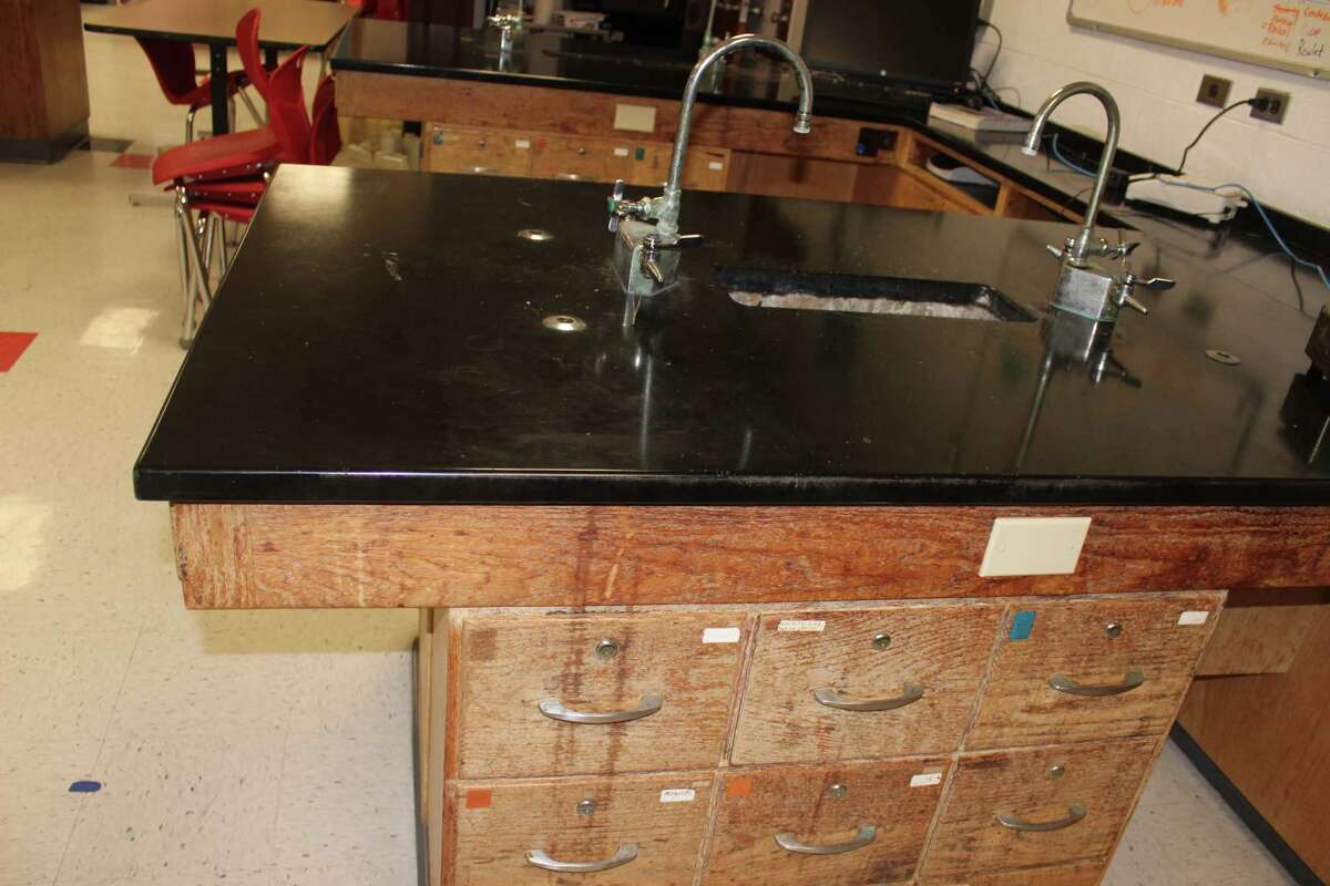 From wasted space to rundown cabinetry and rusted sinks, Benzie Central's chemistry lab could use a face lift, according to district superintendent Matt Olson. (Photo/Robert Merry)