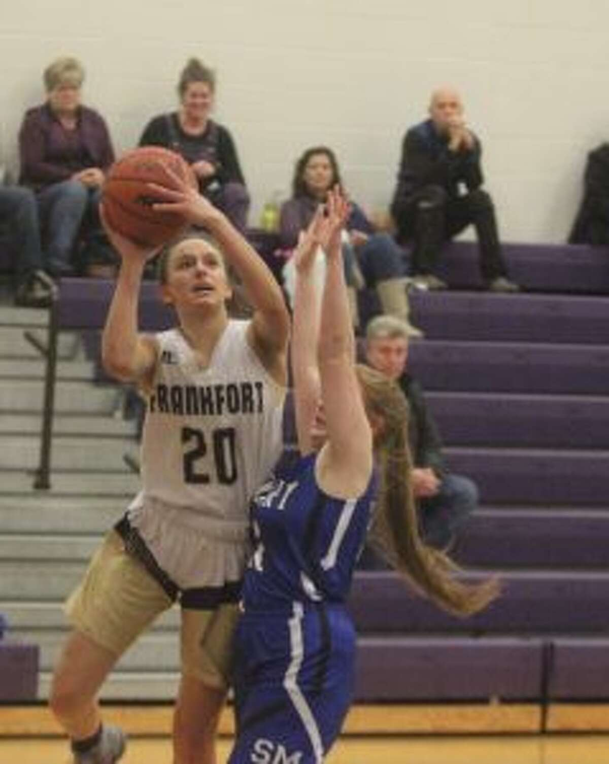 Reagan Thorr powers her way to the basket during a victory over Lake Leelanau St. Mary earlier this year. (Photo/Robert Myers)