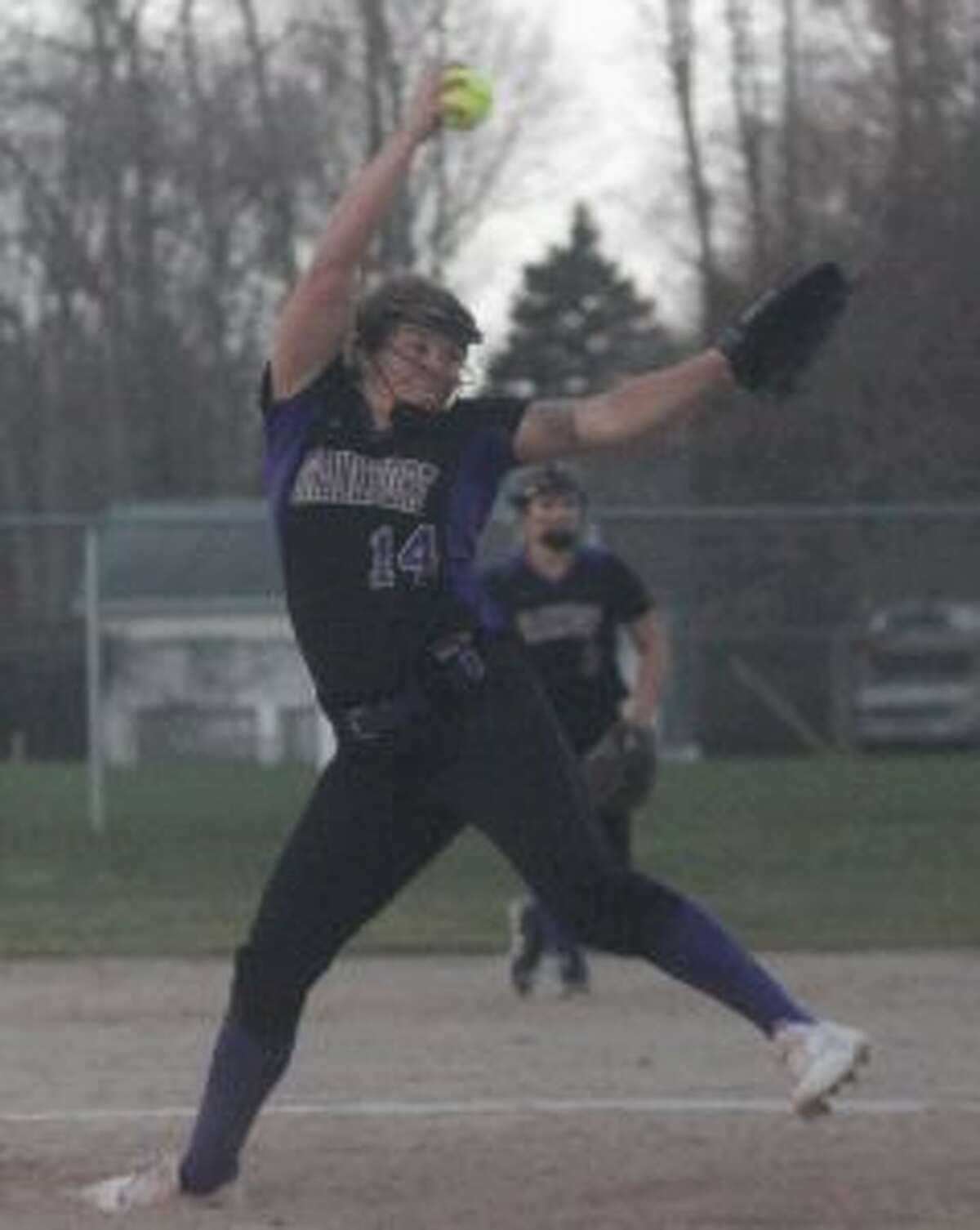 Natalie Bigley closes out Frankfort's sweep of Mason County Central. (Photo/Robert Myers)
