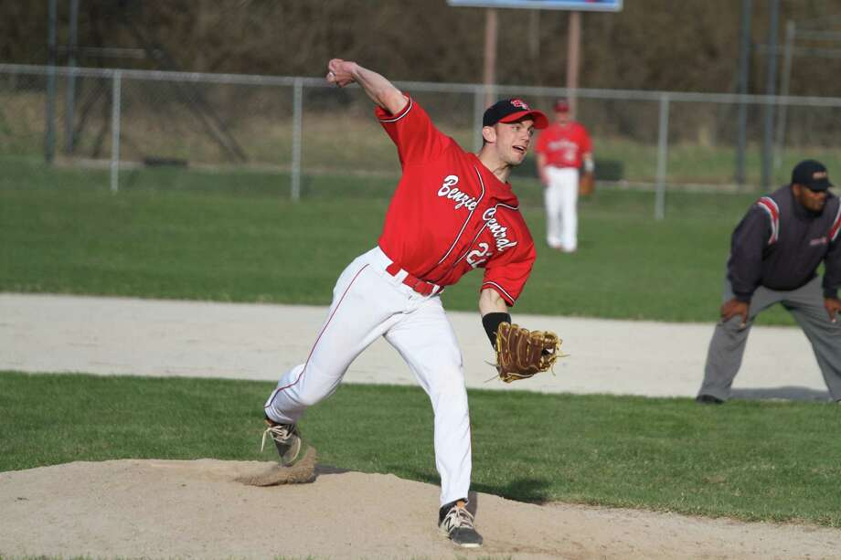 Benzie Central's Tom Ross pitches during the Huskies' 17-1 victory over Onekama. (Photo/Kyle Kotecki)