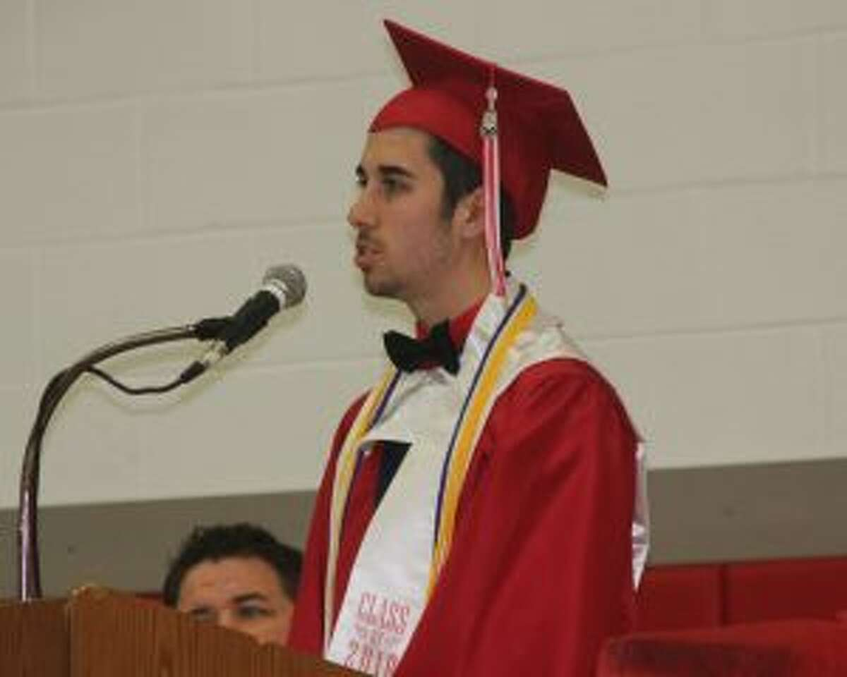 "Valedictorian Christopher ""John"" Hettinger addresses his fellow graduates at Benzie Central."
