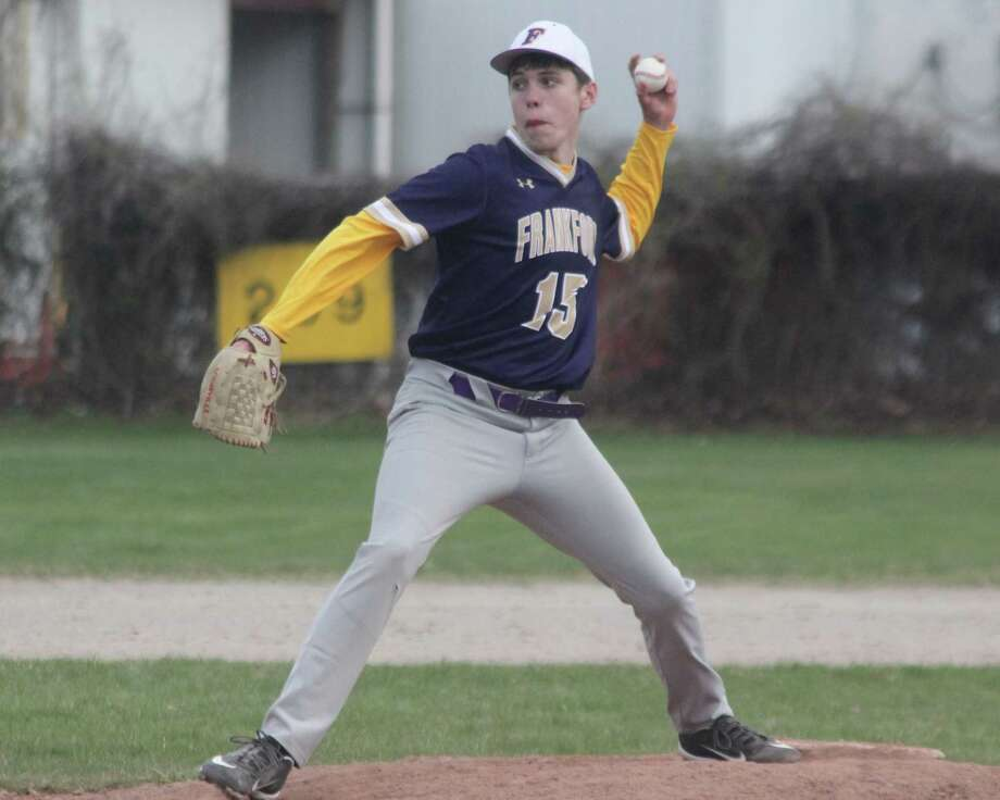 Connor Lamerson pitches against Glen Lake for the Panthers. (Photo/Robert Myers)