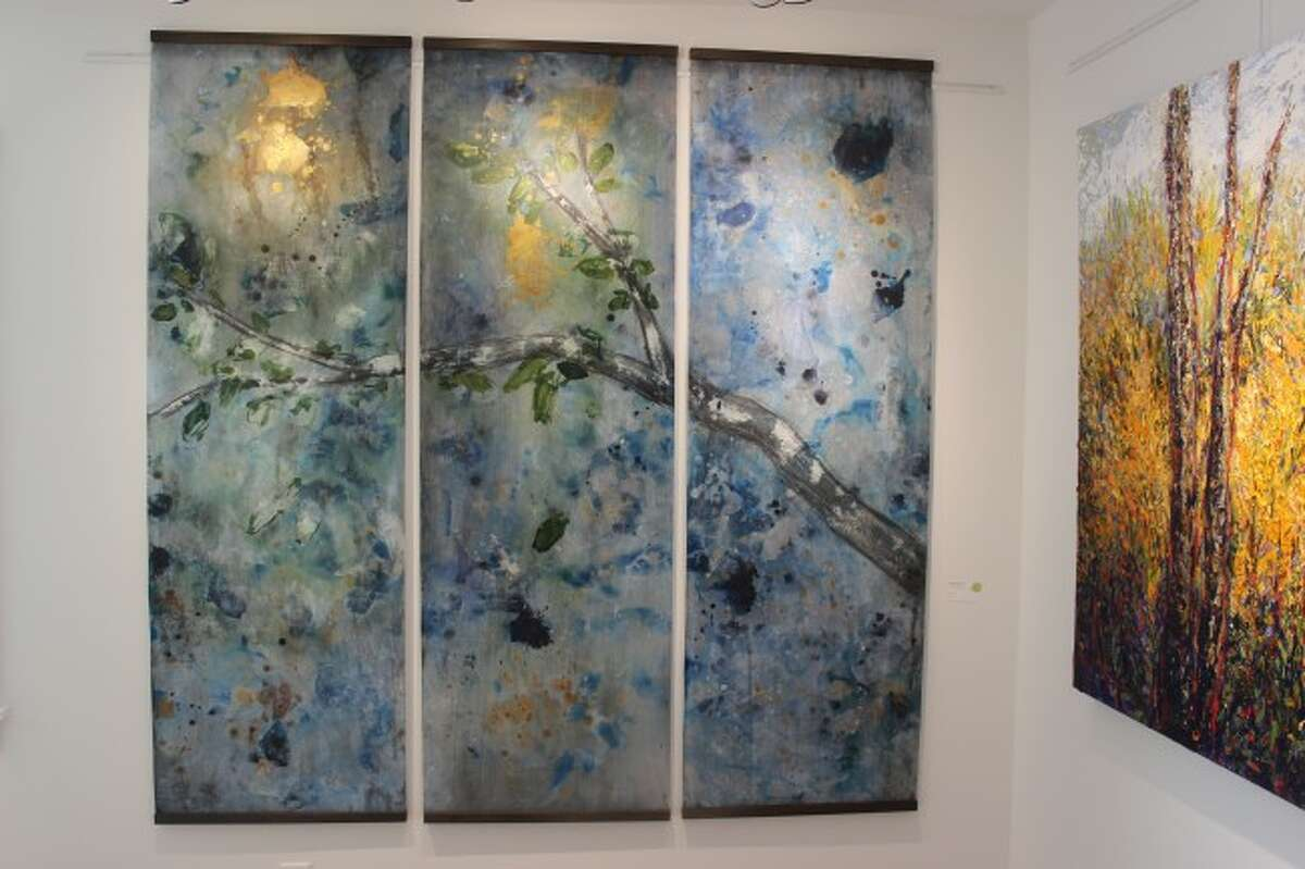 """LOCAL INSPIRATION: The piece """"Into the Woods"""" by artist Sharon Dougherty shows some of the influence from the local natural beauty of norther Michigan."""