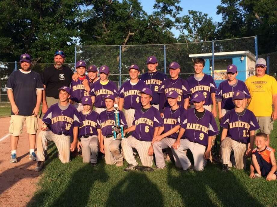FRANKFORT CHAMPS: The Frankfort Pony League team that won the tournament in Manistee. Front row from left to right is Carter Trainer, Ben Tiesworth, Kirk Myers, Griffin Kelly, Adam Bower, Luke Hammon and Xander Stockdale.